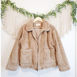 Fromlala Tan Fuzzy Teddy Sherpa Oversized Zip Up Collared Jacket Coat XS-M
